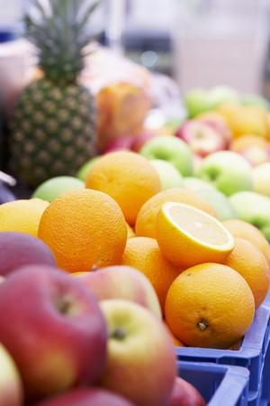 market stall: Fresh fruit on a market stall LANG_EVOIMAGES