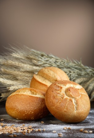 several breads: Fresh bread rolls with wheat LANG_EVOIMAGES
