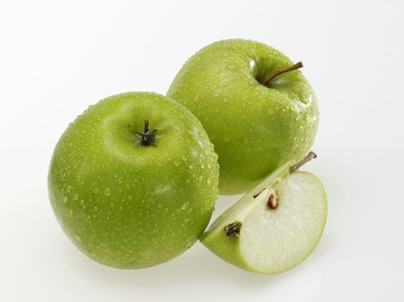 granny smith: Granny Smith apples with drops of water