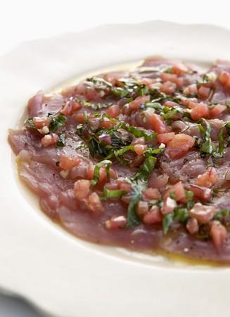 tunafish: Tuna carpaccio with herbs (detail)