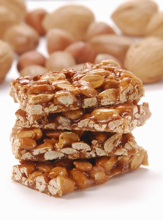 brittle: Stacked bars of almond and peanut brittle