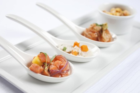 amuse: Three Spoons of Assorted Seafood Appetizers LANG_EVOIMAGES