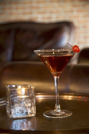 coziness: Manhattan Cocktail on Tray with Candle