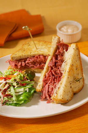 side of beef: Corned Beef Sandwich with Side Salad