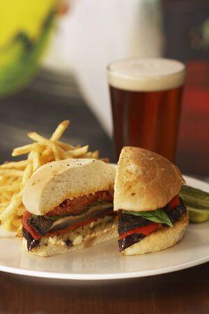 champignons: Portobello Mushroom Burger; Halved with Fries and Beer