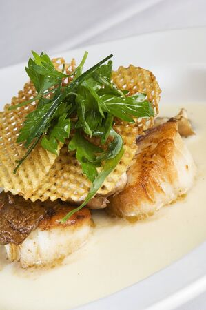 coquille: Sea Scallops in Cream Sauce Topped with a Wafer Crisp and Cilantro LANG_EVOIMAGES