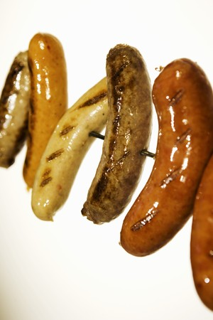 grilled sausages: Assorted Grilled Sausages on a Skewer