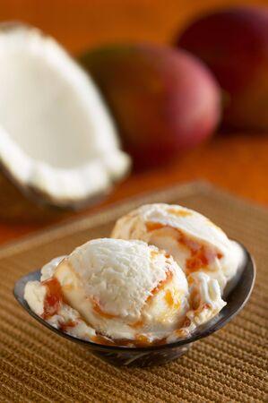 food: Coconut Mango Ice Cream in a Dish