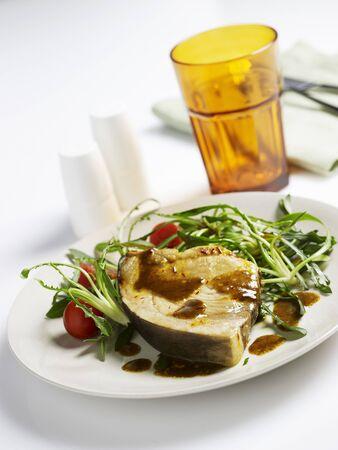 roquette: Swordfish steak with rocket salad
