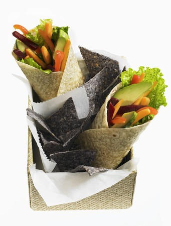 tortilla chips: Vegetable wraps and tortilla chips