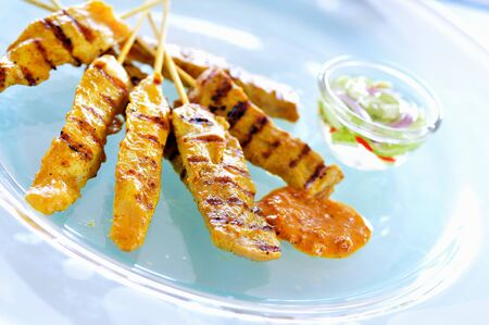 sates: Chicken and pork satay