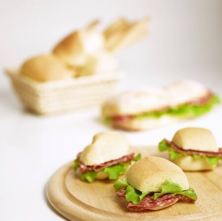 several breads: Salami and lettuce panini