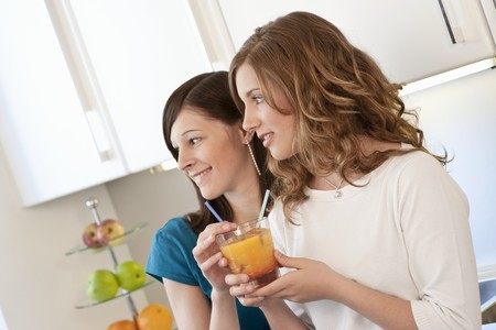 cocktail de fruits: Deux jeunes femmes buvant un cocktail de fruits LANG_EVOIMAGES