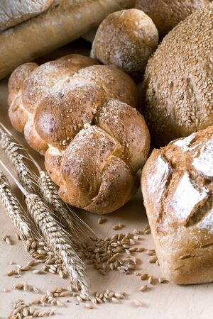 several breads: Assorted loaves of bread