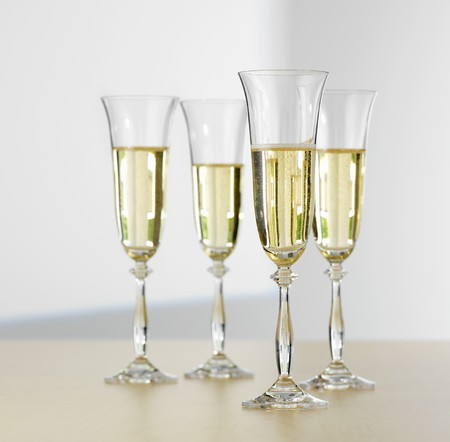 champers: Four glasses of sparkling wine