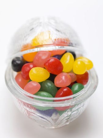 jellybean: Assorted jelly beans in glass dish