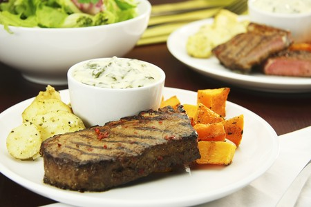 creamed: Beef steak with butternut squash, creamed spinach and dill potatoes
