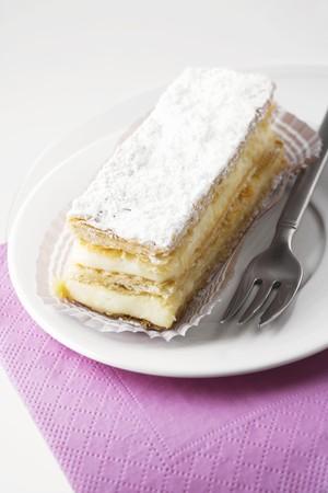 custard slice: Custard slice with icing sugar
