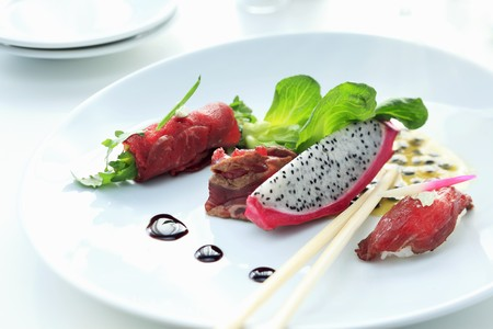 appetiser: Appetiser plate with beef and pitahaya appetisers LANG_EVOIMAGES
