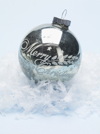 antique silver christmas bauble on artificial snow stock photo 32390923 - Antique Silver Christmas Decorations