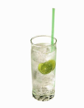 soda pops: Glass of Lemon Lime Soda with Straw
