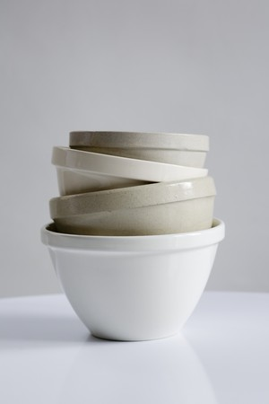 blancmange: Assorted ceramic basins, stacked