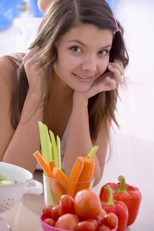 well beings: Girl with fresh vegetables