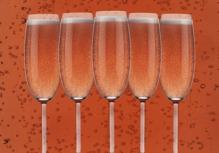 champers: Several glasses of ros� sparkling wine