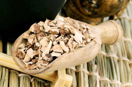 calamus: Calamus root (Acorus gramineus) in wooden scoop