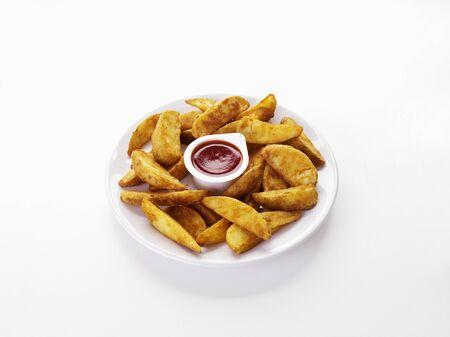 potato wedges: Potato wedges with dip