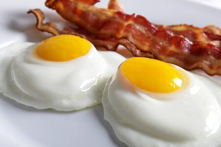 sunny side up: Fried Eggs Sunny Side Up with Bacon LANG_EVOIMAGES