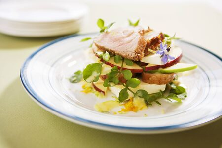 water cress: Pork, apple, cheese and watercress salad