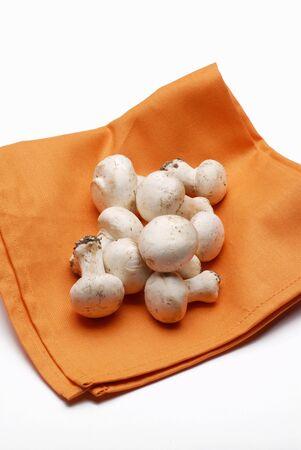 servilleta de papel: Mnushrooms frescas en una servilleta