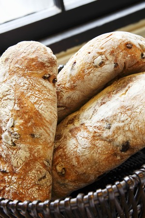 several breads: Kalamata Olive Ciabatta in a Basket