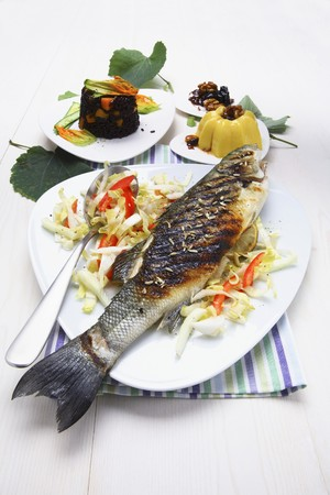 turned out: Branzino alla griglia (Grilled sea bass with vegetables, Italy)