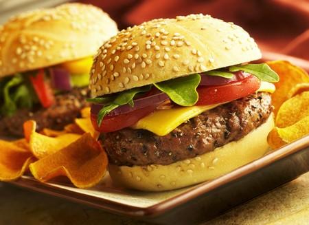 sesame seed bun: Cheeseburger on Sesame Seed Bun; BBQ Chips LANG_EVOIMAGES