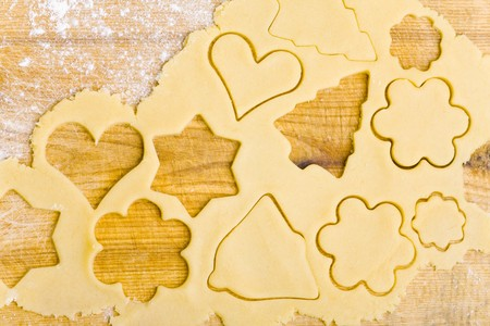 biscuit dough: Biscuit dough with cut-out biscuits