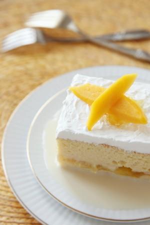tres: Piece of Tres Leche Cake with Mango
