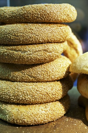 several breads: A stack of sesame rings
