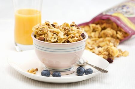 oj: Gluten Free Granola in a Bowl with Blueberries; OJ and Bag of Granola