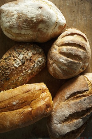 several breads: Various Loaves of Artisan Bread