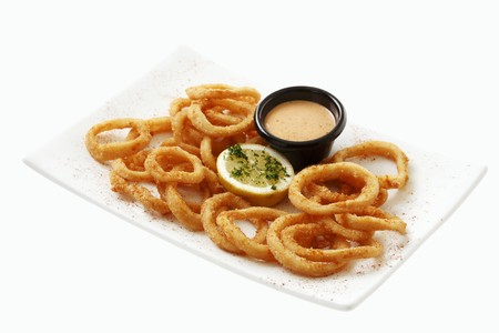 calamares: Deep-fried calamari with cocktail sauce