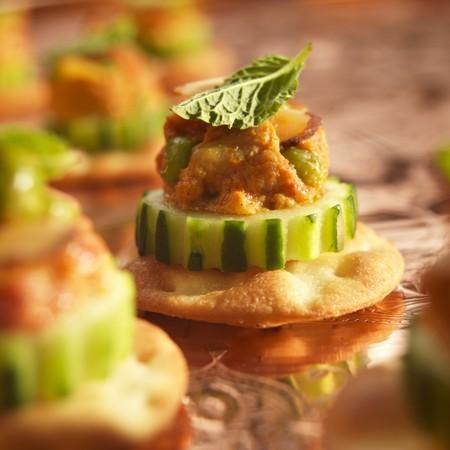 amuse: Chicken Tikka Amuse Bouche on Cucumber and Cracker