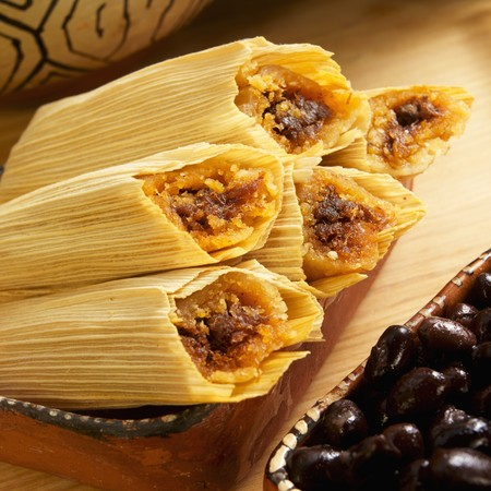 Mini Beef Tamales in Corn Husks; Black Beans