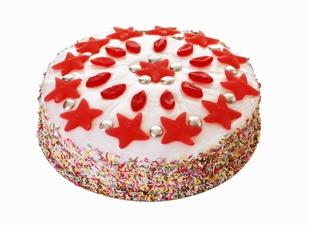 entire: Cake decorated with sprinkles and jelly sweets