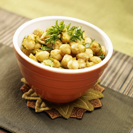 garbanzos: Curry Garbanzos con perejil