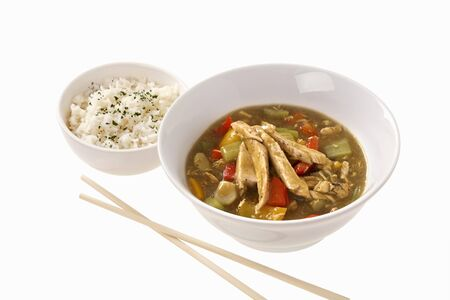 chicken curry: H�hnchencurry mit Reis (Asien)