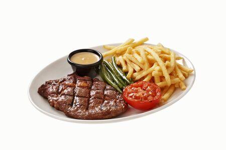 beefsteak: Beefsteak with chips and vegetables