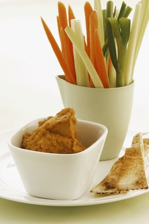 crudite: Vegetable sticks with carrot dip