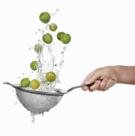 squirted: Washing mirabelles in a colander